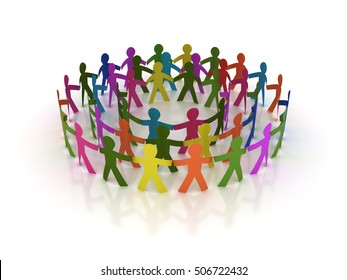 Circle of People for Teamwork Concept - High Quality 3D Rendering / Illustration