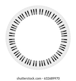circle piano keyboard isolated on white background