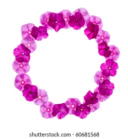 circle pink floral frame isolated on white background