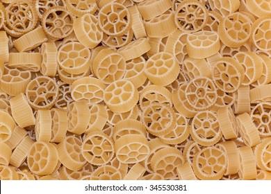 Circle raw pasta background