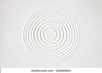 Circle in sand. Zen japanese garden background scene