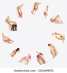 Circle of several female hands with make up products in them. Copy space. Daily care for yourself. Face care product. Banner of woman`s cosmetics on white background. Girl`s morning skin care. Make up