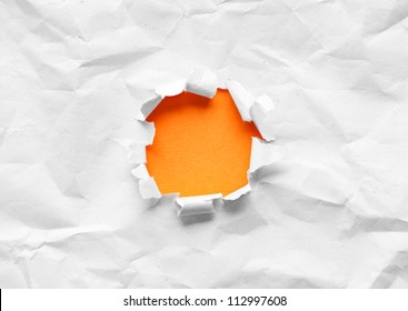 Circle shape breakthrough paper hole with white background