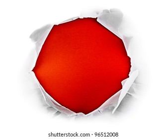 Circle shape breakthrough paper hole with red background.