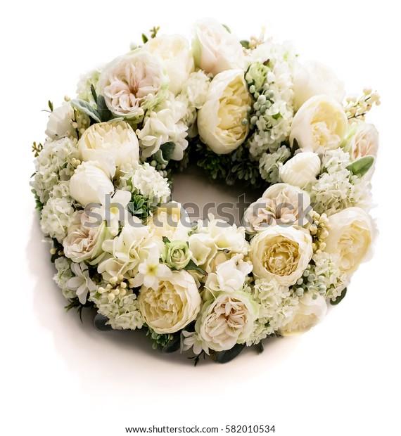 circle shaped flower wreath isolated on white background