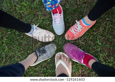 634fcfa8745a Circle Shoes Teenager Friendship Stock Photo (Edit Now) 529261603 ...