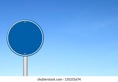circle sign with blue sky blank for text