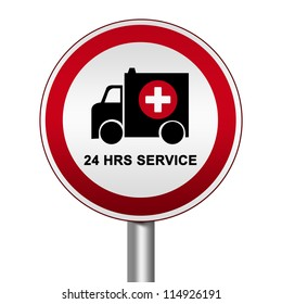 Circle Silver Metallic and Red Metallic Border Road Sign For Ambulance Car 24 HRS Service Isolated on White Background