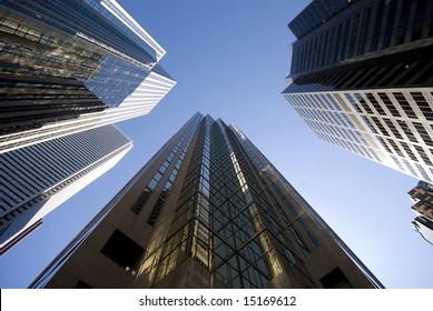 A circle of skyscrapers, downtown Toronto, Ontario, Canada.