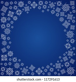 Circle Space and White Snowflakes on Blue Background, Raster Version
