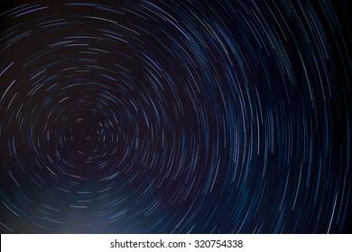 circle star trail at the north pole star