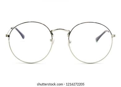 Circle vintage glasses. Round black eyeglasses top view on white background.