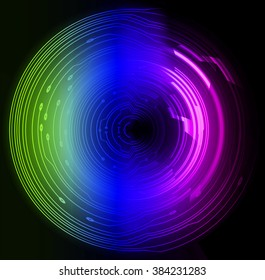 circle wave technology equalizer green blue purple background