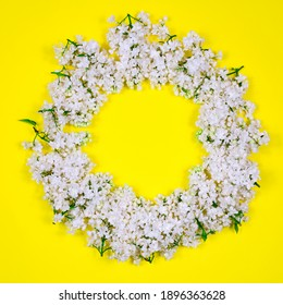 Circle of white lilac flowers on a yellow background. Minimal floral concept. Floral pattern as a layout for a greeting card, copy space for your text. Mothers Day. Women's holiday.