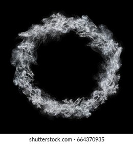 it is circle white smoke frame isolated on black.