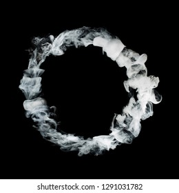circle from white smoke isolated on black background