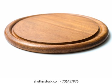 Circle wood plate isolated on white background