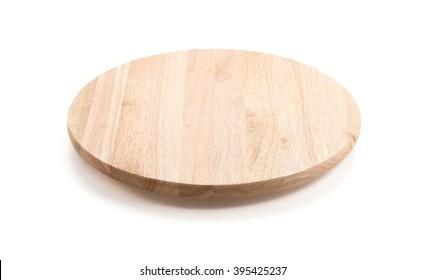 circle wood tray on white background