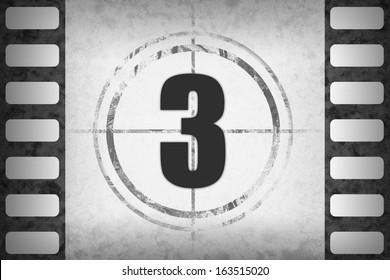 Circled black numbers for movie countdown on white grunge 35mm frame (positive or negative), available as single or full set.