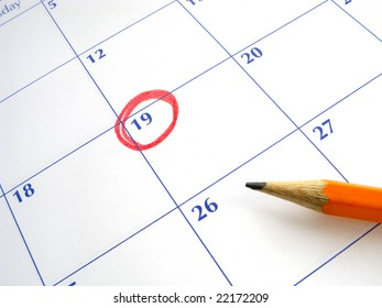 Circled date on a calendar.