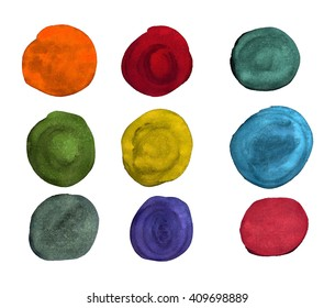 The circles with different colors of watercolor