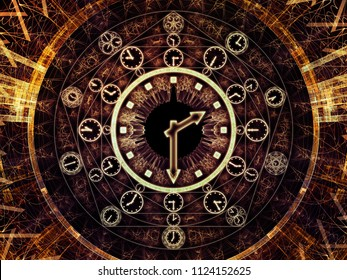 Circles of Time series. Composition of clock symbols and fractal elements suitable as a backdrop for the projects on science, education and prediction