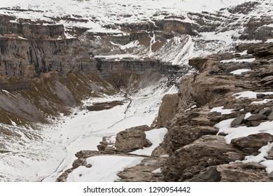 Circo de Soaso in the National Park of Ordesa and Monte Perdido on a cold winter day