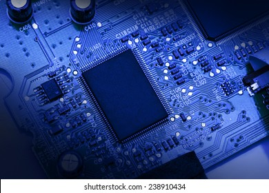 Circuit board background in blue colour