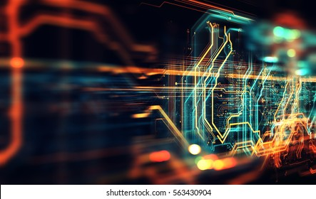 Circuit board background, can be used as digital dynamic wallpaper, technology background. 3D illustration/3D Render abstract background made of array of points and line.