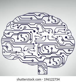 Circuit board computer style brain technology background. Bitmap illustration.