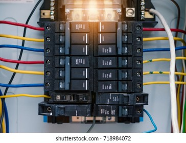 Circuit board connection.Electric system in cabinet building system.The circuit new breakers in Control box.Electrical control panel In the office building.