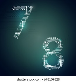 Circuit board digit 7 8