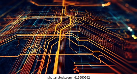 Circuit board futuristic server code processing. Orange,  green, blue technology background with bokeh. 3d Illustration/Printed circuit board futuristic server