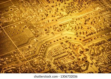 Circuit Board Gold Colored Vignette Background