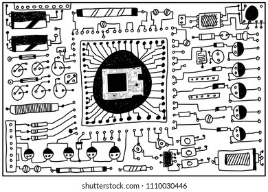Circuit board, hand drawn.
