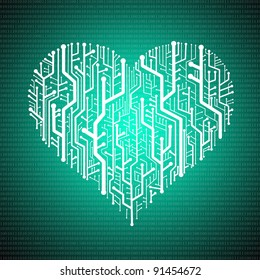 Circuit board in Heart shape with digit background, Technology background
