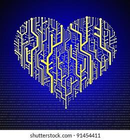 Circuit board in Heart shape, Technology background