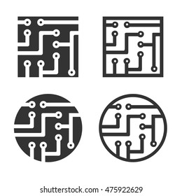Circuit board icons in square and round shapes. Set of tech circuits