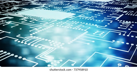Circuit board on white background against blue abstract light spot design