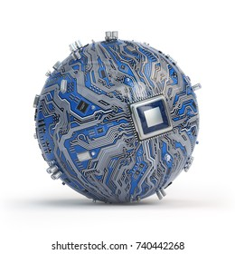 Circuit board system chip with core processor. Spherical computer motherboard with CPU isolated on white background. Futuristic computer technology. 3d illustration