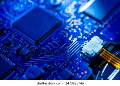 Circuit board.Motherboard digital chip. Electronic computer hardware technology.Integrated communication processor.Information engineering component.Tech science background.shallow focus effect.