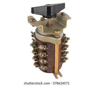 Circuit breaker with a black handle isolated on white background