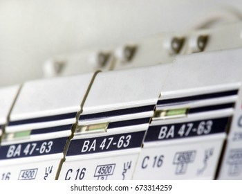 Circuit breakers close-up on a white background