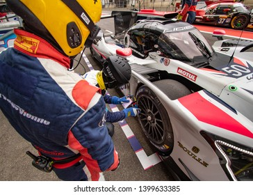 Circuit de Spa-Francorchamps, Belgium, 3 May 2019. Friday practice WEC Total 6 Hours of Spa. Labre Competition LMP2 tyre check and pit stop.