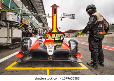 Circuit de Spa-Francorchamps, Belgium, 3 May 2019. Friday practice WEC Total 6 Hours of Spa. Toyota LMP1 Hybrid waits to be released from the pit stop.