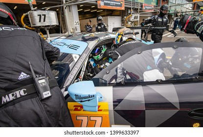 Circuit de Spa-Francorchamps, Belgium, 3 May 2019. Friday practice WEC Total 6 Hours of Spa. Dempsey-Proton Racing Porsche 911 RSR driver change.
