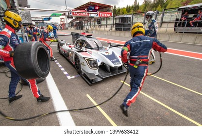 Circuit de Spa-Francorchamps, Belgium, 3 May 2019. Friday practice WEC Total 6 Hours of Spa. Labre Competition LMP2 pit stop.