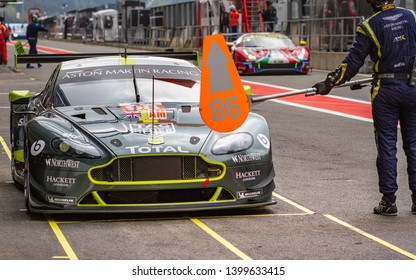 Circuit de Spa-Francorchamps, Belgium, 3 May 2019. Friday practice WEC Total 6 Hours of Spa. Aston Martin Vantage waits to be released from the pit stop.