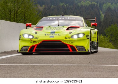 Circuit de Spa-Francorchamps, Belgium, 3 May 2019. Friday practice WEC Total 6 Hours of Spa. Aston Martin Vantage AMR in the pit lane approach road.
