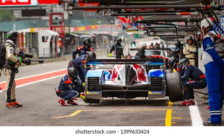 Circuit de Spa-Francorchamps, Belgium, 3 May 2019. Friday practice WEC Total 6 Hours of Spa. SMP Racing LMP1 pit stop.